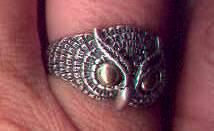Solid Sterling Silver Owl Feathered Ring with Solid Gold Eyes
